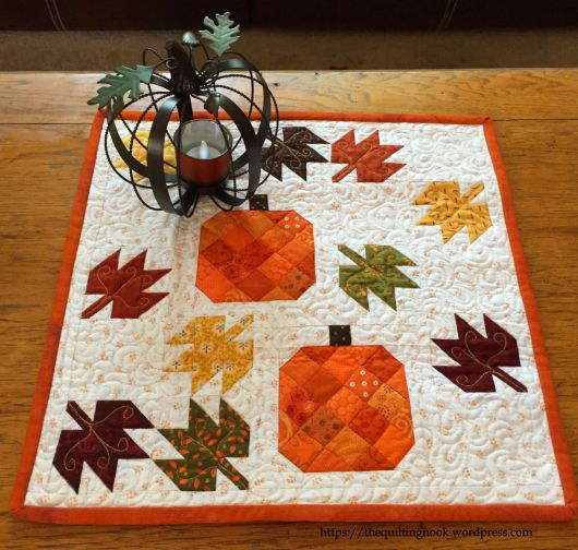 Scattered Leaves And Pumpkins Pillow Or Mini Quilt Pattern The