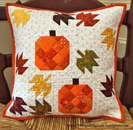 scatterd leaves pillow, blog