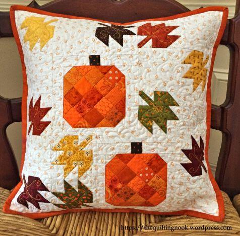scatterd leaves pillow, blog