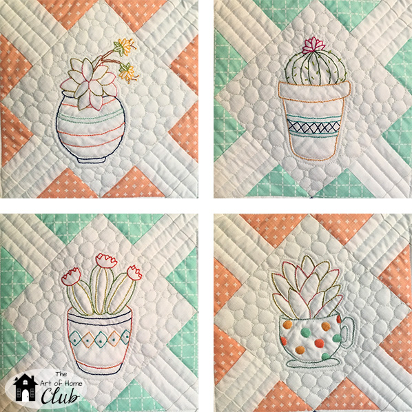 Needles Embroidery Cactus Blocks- The Art of Home Club