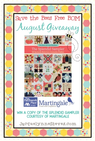 Save the Bees BOM Giveaway August 2018- Jacquelynne Steves